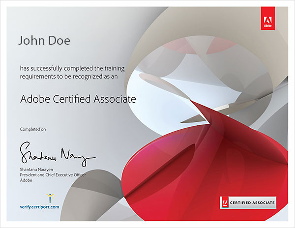 Adove Certified Certificate